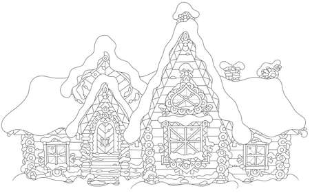 Maison en rondins décorée avec un conte de fées recouvert de neige, illustration vectorielle noir et blanc dans un style de dessin animé Vecteurs