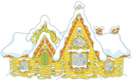 Maison en rondins ornée sous la neige