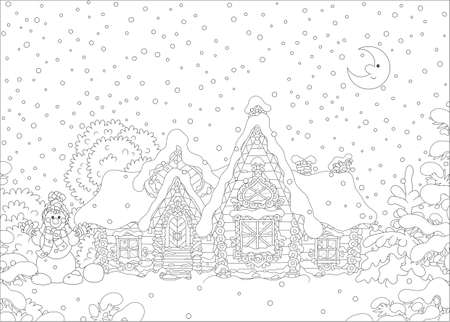 Decorated log house with a fairytale covered with snow, black and white vector illustration in a cartoon style Illustration