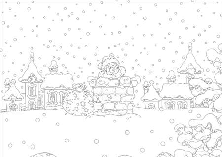 The night before Christmas, Santa Claus looking out of a chimney on a snow-covered roof. Black and white vector illustration