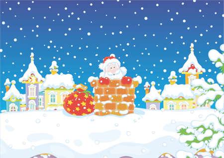 クリスマスの前夜、雪に覆われた屋根の上の煙突から見えるサンタクロース