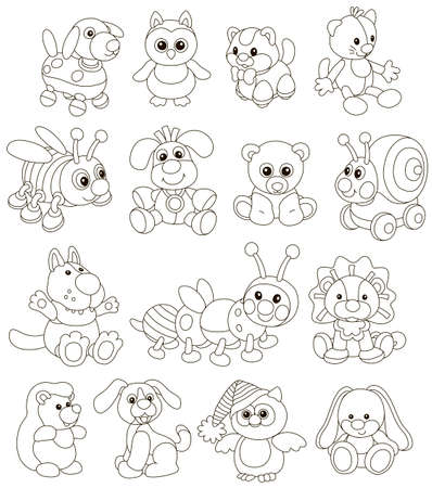Vector collection of funny toy animals for small children, black and white vector illustrations in a cartoon style