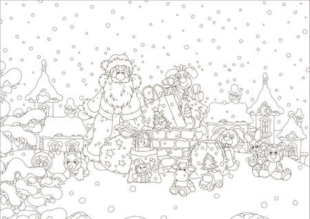 The night before Christmas, Santa Claus with his gifts near a chimney on a snow-covered roof, black and white vector illustration Illustration