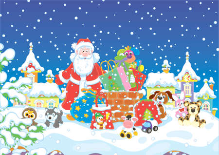The night before Christmas, Santa Claus with his gifts near a chimney on a snow-covered roof  イラスト・ベクター素材