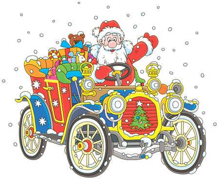 Babbo Natale alla guida della sua auto con regali di Natale, illustrazione vettoriale in stile cartone animato