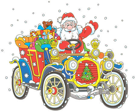 Santa Claus driving his car with Christmas gifts, vector illustration in a cartoon style Illustration