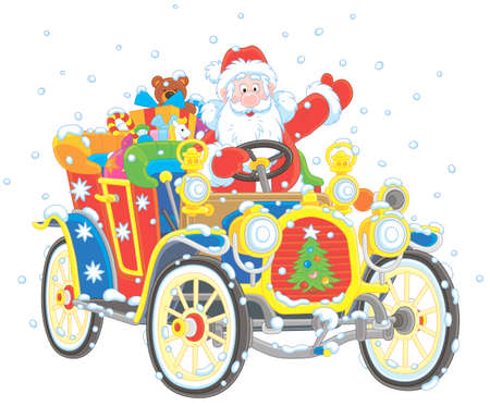 Santa Claus driving his car with Christmas gifts Archivio Fotografico - 110778673