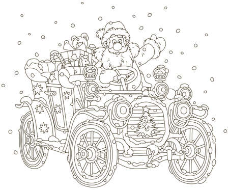 Santa Claus driving his car with Christmas gifts, black and white vector illustration in a cartoon style for a coloring book Vectores
