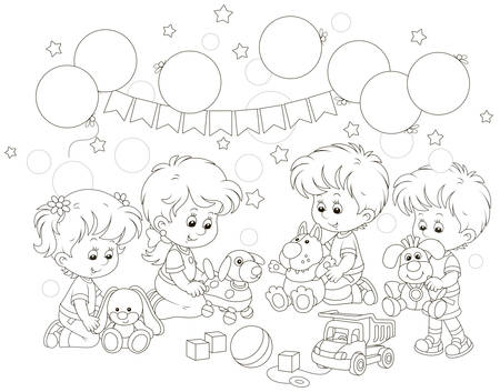 Small children playing funny soft toys in their playroom, black and white vector illustration in a cartoon style for a coloring book