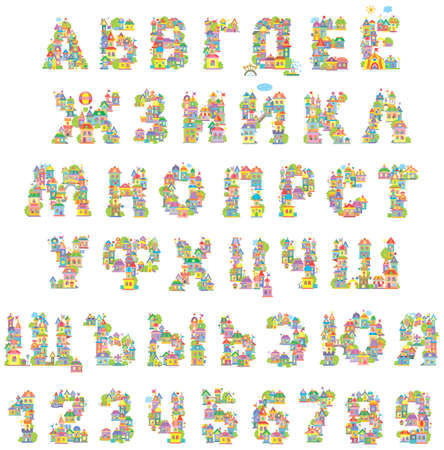 Font Toy Town. Russian alphabet and numerals made of colorful houses