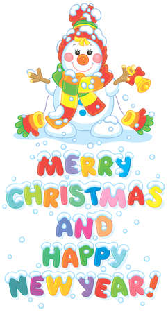 Merry Christmas and happy New Year. Colorful greeting card with a funny snowman friendly smiling