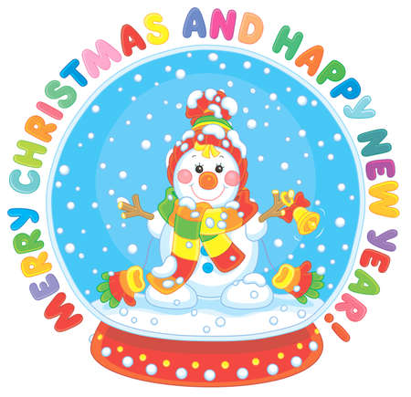 Merry Christmas and happy New Year. Colorful greeting card with a crystal ball with a funny toy snowman friendly smiling and falling snow inside Illustration