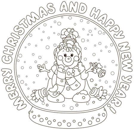 Buon Natale e Felice Anno nuovo. Biglietto di auguri con una sfera di cristallo con un simpatico pupazzo di neve giocattolo sorridente e neve che cade dentro