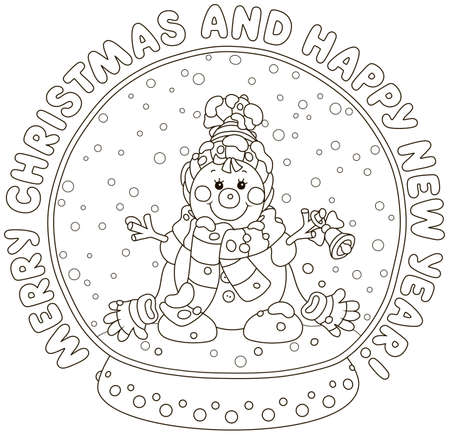 Merry Christmas and happy New Year. Greeting card with a crystal ball with a funny toy snowman friendly smiling and falling snow inside