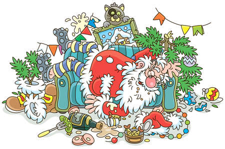 Santa Claus after the New Year's feast is slightly drunk and asleep on his couch in a scary mess, vector illustration in a cartoon style