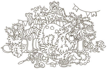 Santa Claus after the New Year's feast is slightly drunk and asleep on his couch in a scary mess, black and white vector illustration in a cartoon style