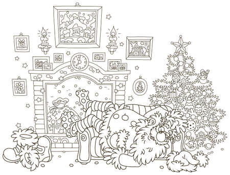 The night before Christmas. Santa Claus sleeping after hard work on a couch near a decorated fir tree and a fireplace, black and white vector illustration in a cartoon style for a coloring book Illustration