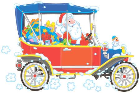 Babbo Natale alla guida della sua auto con regali di Natale, illustrazione vettoriale in stile cartone animato Vettoriali