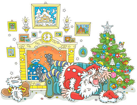 The night before Christmas. Santa Claus sleeping after hard work on a couch near a decorated fir tree and a fireplace, vector illustration in a cartoon style Illustration
