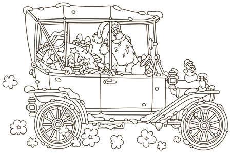 Babbo Natale alla guida della sua auto con regali di Natale, illustrazione vettoriale in bianco e nero in stile cartone animato per un libro da colorare