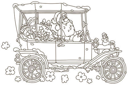 Santa Claus driving his car with Christmas gifts, black and white vector illustration in a cartoon style for a coloring book Illustration