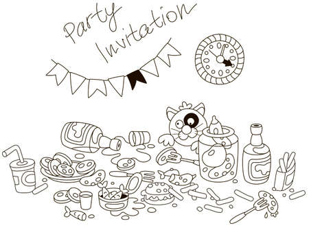 Funny party invitation card with an amusing tipsy cat and a table with drinks and appetizers after a shindig. Black and white vector illustration in a cartoon style Illustration