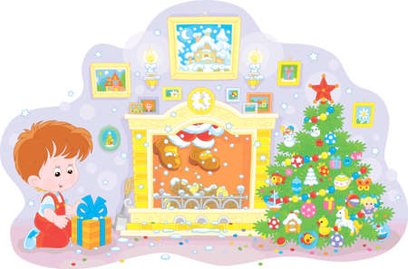 Little boy with his gift near a colorfully decorated Christmas tree, a fireplace and Santa who hid in a chimney, vector illustration in a cartoon style