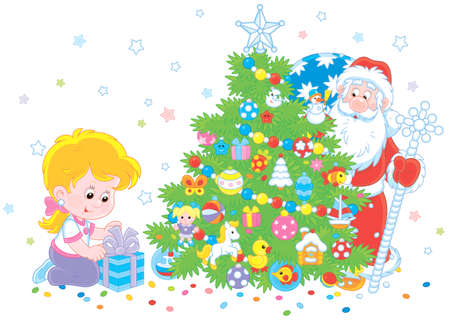 Little girl with her gift and Santa Claus who hiding and peeking out from behind a colorfully decorated Christmas tree, vector illustration in a cartoon style Vettoriali