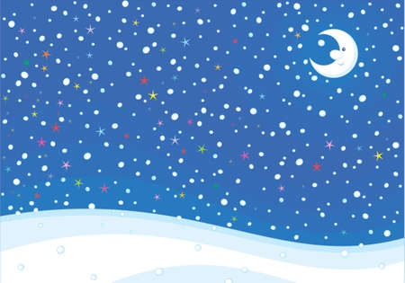 Winter holiday background with a smiling moon, color stars and snowfall, vector illustration in a cartoon style