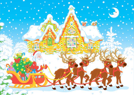The night before Christmas, Santa Claus with a big bag of Christmas presents in his sleigh with reindeers beginning the magic journey around the world, vector illustration in a cartoon style