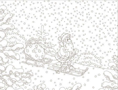 Santa Claus skiing through a snow-covered winter forest and carrying his bag of Christmas gifts on his sledge, black and white vector illustration in a cartoon style Illustration