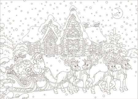 The night before Christmas, Santa Claus with a big bag of Christmas presents in his sleigh with reindeers beginning the magic journey around the world, black and white vector illustration in a cartoon style