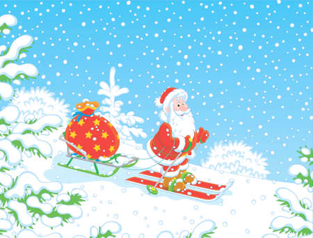 Santa Claus skiing through a snow-covered winter forest and carrying his bag of Christmas gifts on his sledge, vector illustration in a cartoon style