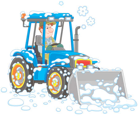 Smiling worker driving his wheeled tractor grader with a bucket and cleaning snow after snowfall, vector illustration in cartoon style Ilustração