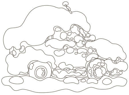 Car under snow in winter, it snowed all night and froze very hard, black and white vector illustration in a cartoon style