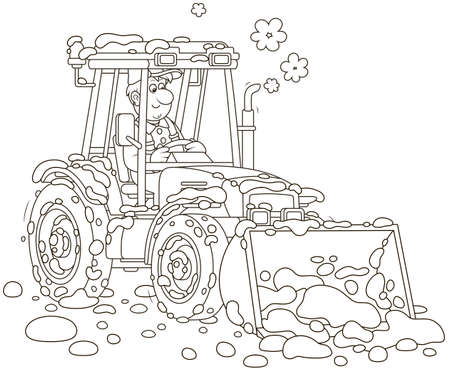 Lächelnder Arbeiter, der seinen Radtraktorgrader mit einem Eimer fährt und Schnee nach Schneefall säubert, schwarz-weiße Vektorgrafik im Cartoon-Stil