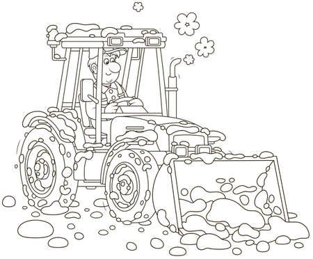 Travailleur souriant conduisant sa niveleuse de tracteur à roues avec un seau et nettoyant la neige après les chutes de neige, illustration vectorielle en noir et blanc en style cartoon
