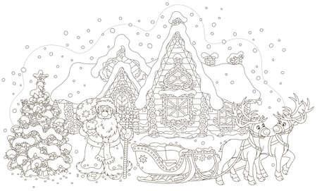 The night before Christmas. Santa Claus with a big bag of gifts standing near a decorated fir-tree and his sleigh with reindeers before the magic journey around the world, vector illustration
