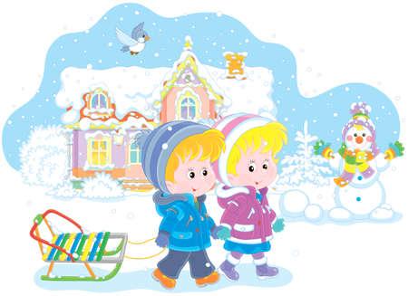 Smiling little girl and a boy walking with a small sled against a snow-covered house and a funny snowman, vector illustration in a cartoon style Illustration