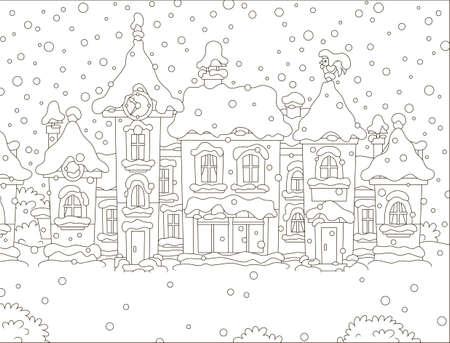 Small houses of a toy town on a snowy winter day, black and white vector illustration in a cartoon style for a coloring book