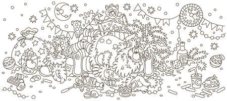 Santa Claus after the New Year feast is slightly drunk and asleep on his couch in a scary mess, black and white outlined vector illustration in a cartoon style to print on a cup