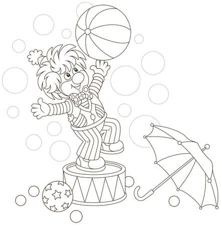 Funny circus clown playing a big ball and an umbrella, black and white vector illustration in a cartoon style for a coloring book