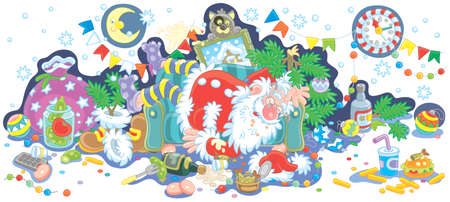 Santa Claus after the New Year feast is slightly drunk and asleep on his couch in a scary mess, vector illustration in a cartoon style to print on a cup