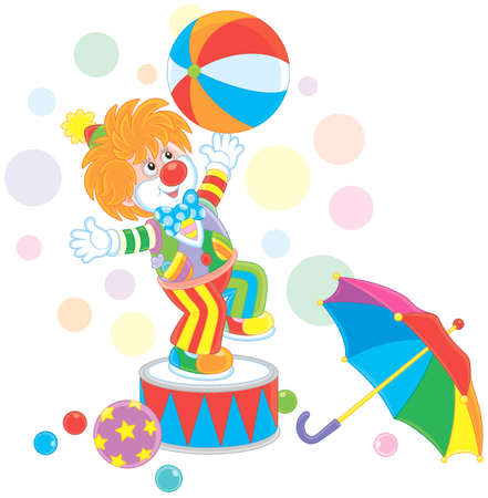 Funny red circus clown playing a big colorful ball and an umbrella, vector illustration in a cartoon style