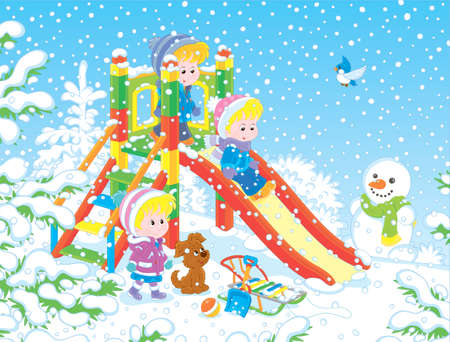 Little children playing on a slide at a snow-covered playground in a winter park on a snowy day, vector illustration in a cartoon style