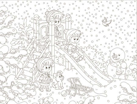 Children playing on a slide at a snow-covered playground in a winter park on a snowy day, black and white vector illustration in a cartoon style for a coloring book