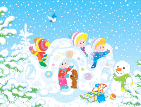 Small children playing in their toy snow fortress on a playground in a winter snow-covered park, vector illustration in a cartoon style Illustration
