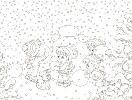 Small children building a snow fortress on a playground in a winter snow-covered park, black and white vector illustration in a cartoon style