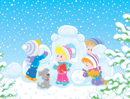 Small children building a snow fortress on a playground in a winter snow-covered park, vector illustration in a cartoon style