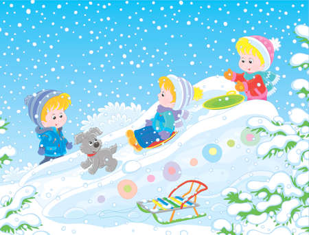 Children playing on an ice slide on a snow-covered playground in a winter park, vector illustration in a cartoon style